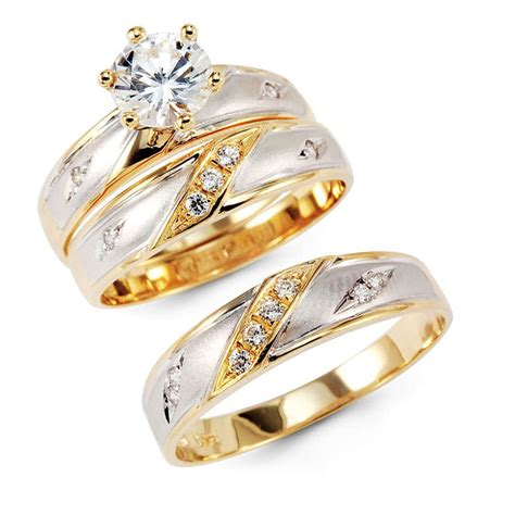 14k yellow two tone gold engagement promise bridal wedding