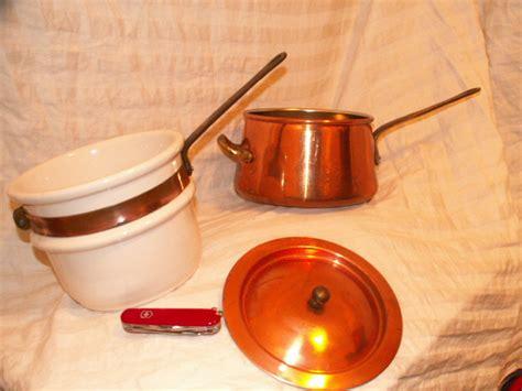 vintage french copper bain marie double boiler  copper