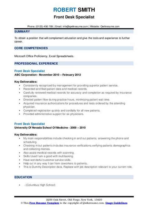 front desk specialist resume samples qwikresume