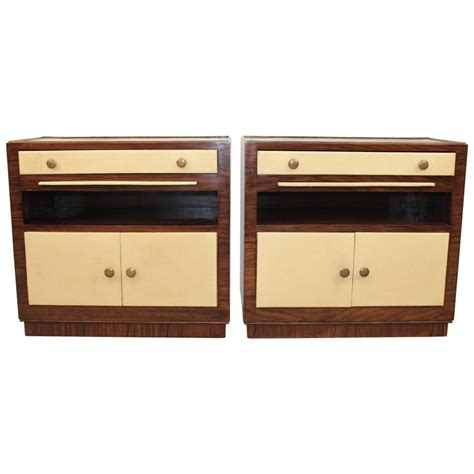 leather nightstands pair of art deco rosewood and leather nightstands for sale at 1stdibs