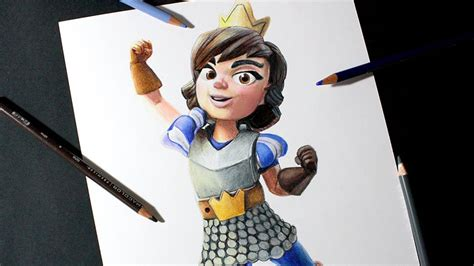 como dibujo  la princesa de clash royale   draw