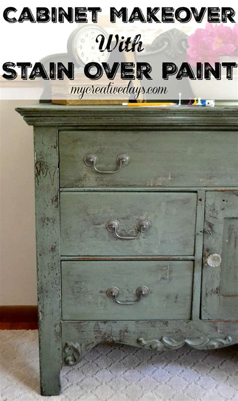 Cabinet Makeover With Stain Over Paint  My Creative Days