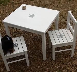 Table Et Chaise Pour Bébé : ensmble table et 2 chaises pour enfant patin blanc avec toile bleu gris chambre d 39 enfant ~ Farleysfitness.com Idées de Décoration