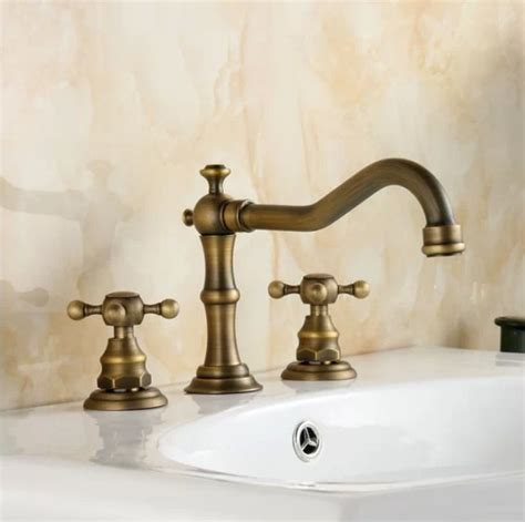 Brass Sink Taps Bathroom by Vintage Style Rubbed Bronze Finish Handles