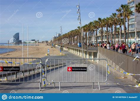 Barcelona, Spain, 03 May 2020: View Of The Barcelona Beach ...