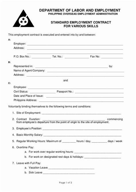 Simple Employment Contract Template Free Lovely Poea Standard Employment Contract for Various