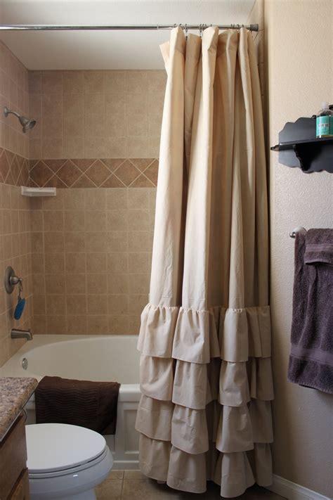Feminine Shower Curtains by Tan Four Ruffle Shower Curtain
