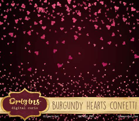 Burgundy Hearts Confetti By Digital Curio