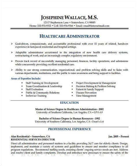 Healthcare Administration Resumes by 25 Basic Administration Resumes Free Premium Templates