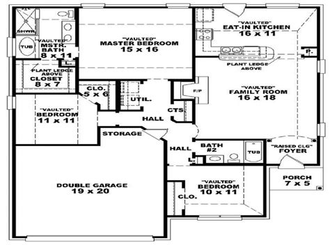 one two bedroom house plans 3 bedroom 2 bath 1 house plans floor plans for 3