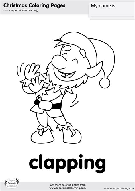 clapping coloring page super simple