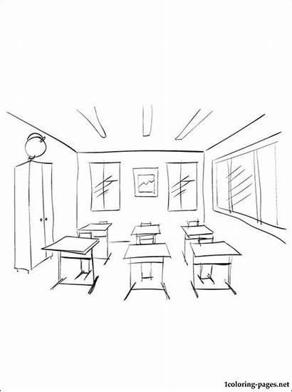 Classroom Coloring Pages Drawing Assassination Printable Sketch