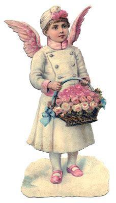 vintage christmas image amazing angel  pink wings