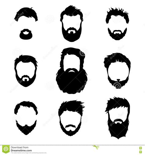 Men's Fashion, Silhouette, Style, Set Of Beards, Vector ...