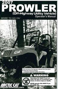 2007 Arctic Cat Prowler Side By Side Owners Manual