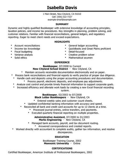 bookkeeper resume  livecareer