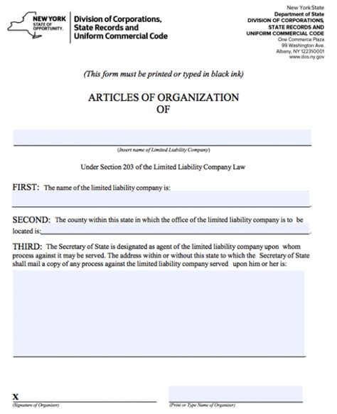 llc articles of organization how to start a domestic llc in new york articles of organization