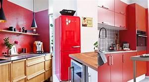 Decoration cuisine rouge home design nouveau et ameliore for Idee deco cuisine avec meuble de cuisine rouge et gris