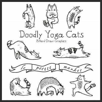 Yoga Cat Hand Illustration Drawn Clipart Digital