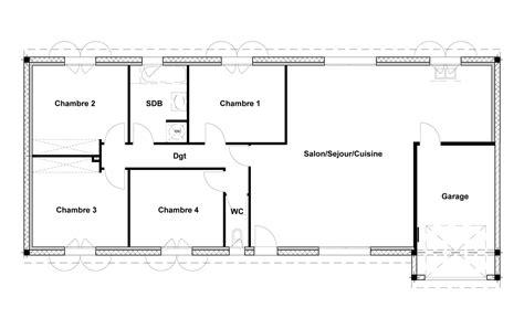 plan maison plain pied 4 chambres garage plans maison plain pied 3 chambres plan maison ossature