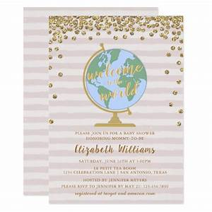 Normal Baby Weight Chart Welcome To The World Globe Baby Shower Invitation Zazzle Com