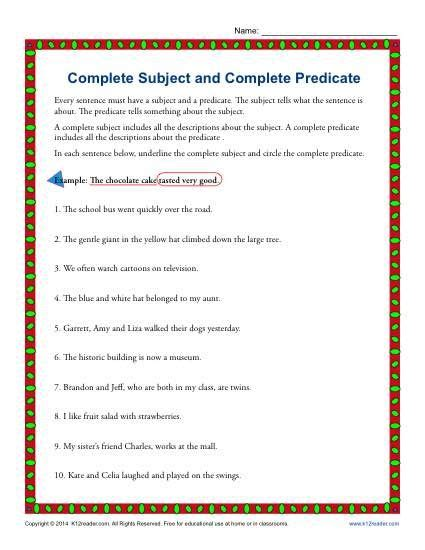 complete subject and complete predicate language arts
