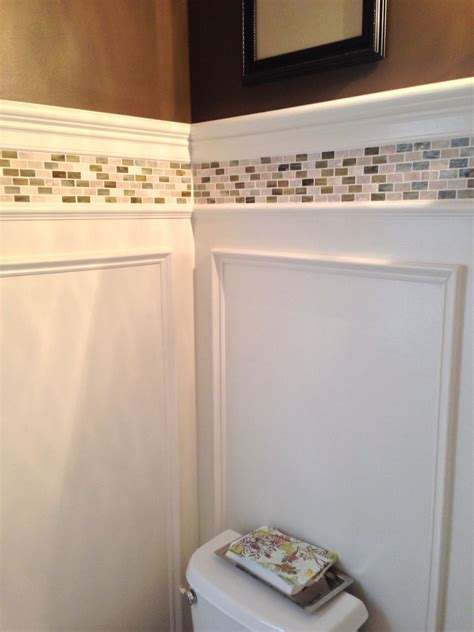Tile Wainscoting Ideas by Powder Room Update Shadow Box Wainscoting And Tile Border