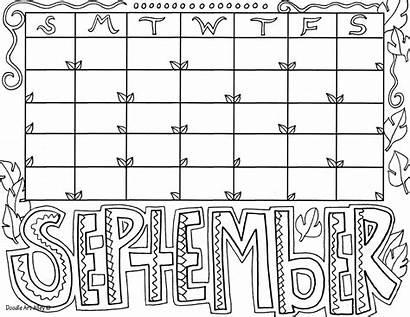 September Calendar Coloring Doodles Mandala Printable Month