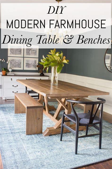 Modern Farmhouse Dining Table & Benches  Erin Spain