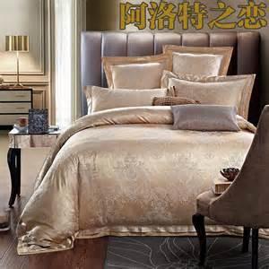 luxury jacquard silk cotton bedding set queen king size 4pcs satin doona duvet quilts comforter