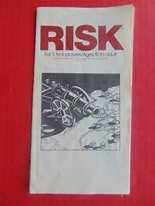 Risk Pieces Board Game 1980 Instruction Manual Rule Guide