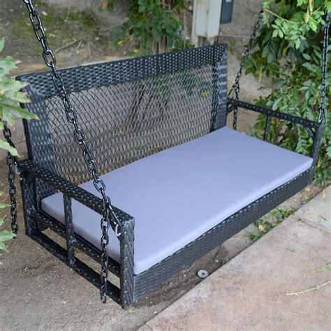 Porch Swing Bench by 60 Quot Black Wicker Porch Swing Outdoor Garden Furniture