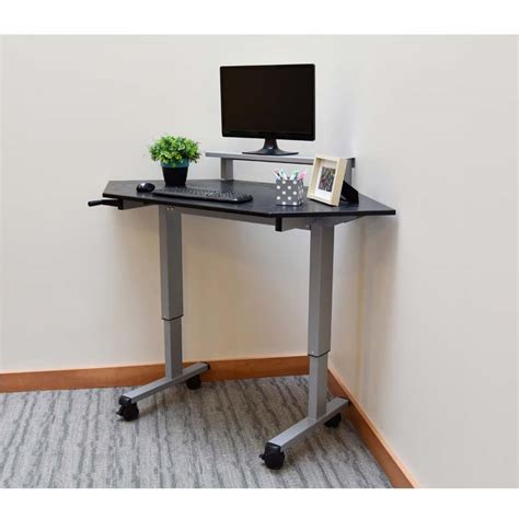 Desks For Small Bedrooms by Luxor Adjustable Height Stand Up Corner Desk Silver And