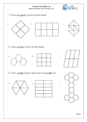 Finding Fractions Of Shapes Urbrainy