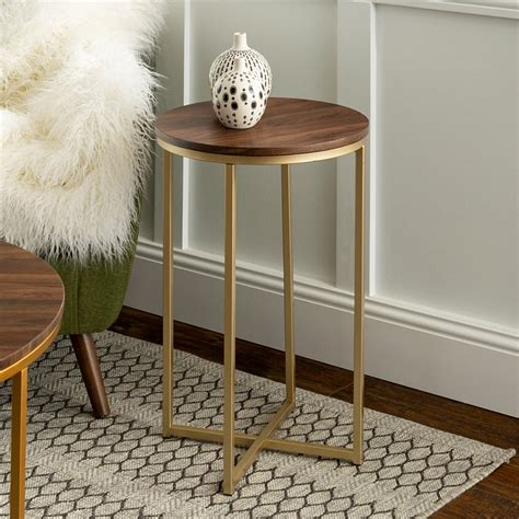 Check out this eclectic glam style! 2-Piece Round Coffee Table Set - Dark Walnut and Gold - GAF36ALDWG