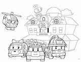 Robocar Coloring Poli Pages Resolution Rescue Team Safety Fire Road sketch template