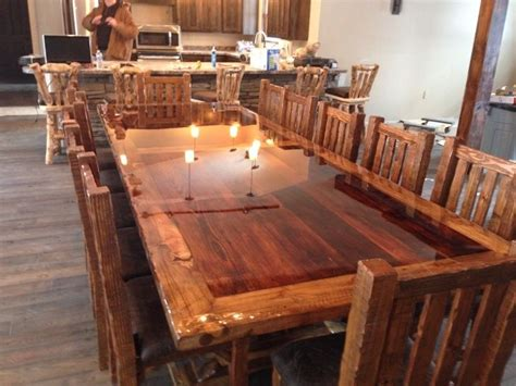 made custom built reclaimed barn wood dinning room