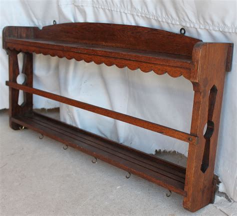 bargain johns antiques antique wall mount mission oak plate rack shelf arts crafts