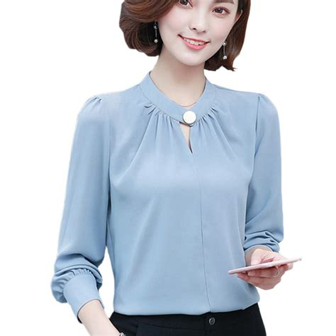 korean elegant office wear women tops long sleeve chiffon
