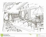Patio Backyard Sketch Modern Furnished Hygge Freehand Scandic Veranda Terrace Trendy Illustration Preview sketch template