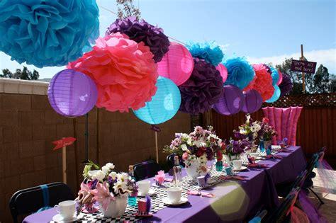 10 tissue paper pom poms mad hatter tea decorations