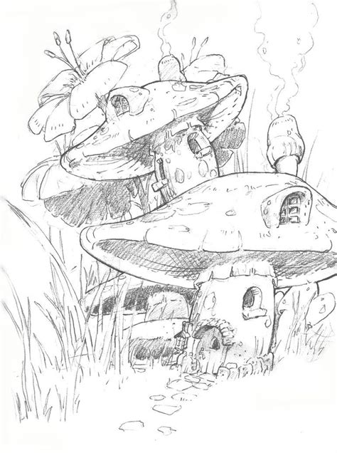 fairy  mushrooms art sketches google search