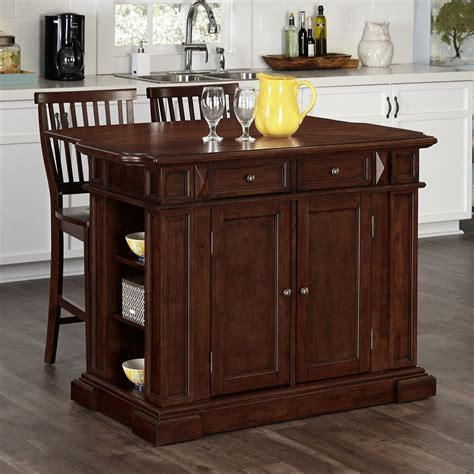 kitchen island cart with stools home styles americana kitchen island with optional stools 8157