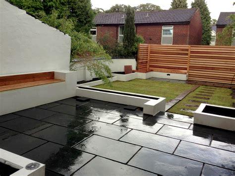 Back Garden Patio by Premium Kotah Black Limestone Indian Patio Paving Slabs