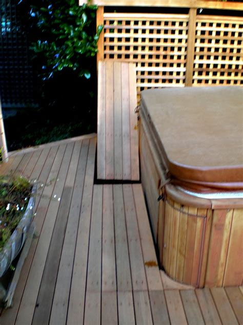 removable deck panels  access  hot tub front home