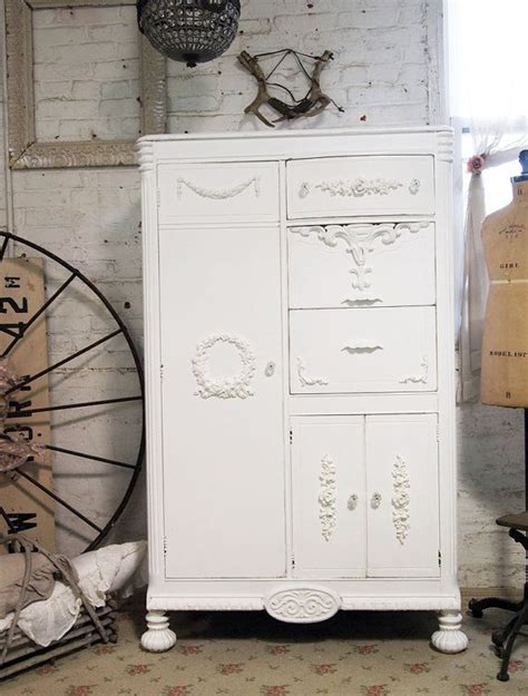 shabby chic white wardrobe painted cottage chic shabby white romantic armoire am235 painted cottage white armoire and