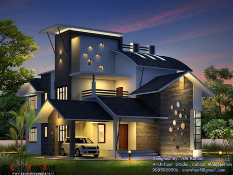 kerala contemporary style double floor home design  budget