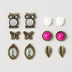 Assorted Vintage Gold Stud Earrings – Claire's | Earrings ...