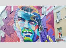 Grafiti de Cristiano Ronaldo recibe a Portugal en la Copa