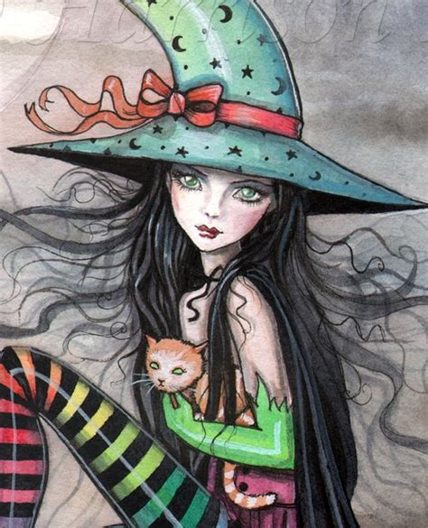 witch cat halloween fine art print  molly harrison